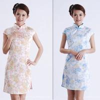 2012 summer short-sleeve cheongsam chinese style improved cheongsam print vintage elegant bridesmaid formal dress