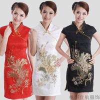 Cheongsam married sistance of short design low collar slim cheongsam dress bride bridesmaid formal dress