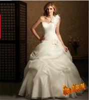 2013  one shoulder flower royal princess plus size wedding gowns