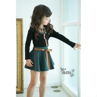 (5pieces/lot) Girls casual long sleeve dress kids dot splicing novelty mini dress girl dress in stock