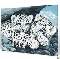 NEW ARRIVAL  DIY DIGITAL stuff OIL PAINTING snow leopard 30*40CM QS015