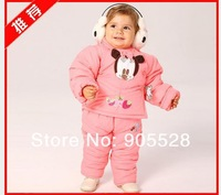 New Autumn winter Mickey cute girls padded suit children infants and young children fitted 2pcs coat + pant Children Set