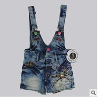 Free shipping 2013 summer models diamond girls cotton denim strap shorts