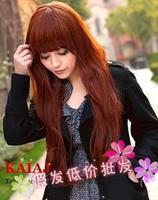 Free shipping 2012 Wig fluffy qi liu medium-long Wine red long kinkiness jumbo wig