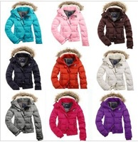 2014 Women's brand new Thickening Fur Collar Down Coat Outwear Warm Winter girl Jacket slim Clothes free shipping