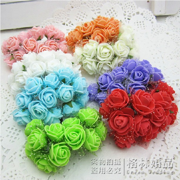144pcs/bag New stlye 2.5cm DIY Artificial Mini Foam rose with veil Flower Wedding Invational Candy Boxes favor party gift wa005(China (Mainland))