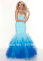2013 New Style Sexy Mermaid Beaded Sequin Evening Dress Sweetheart Floor Length Layered Organza Blue  White Black Prom Dresses