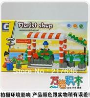 Free shipping. DIY Educational toys, WANGE commercial street series Florist ship 145pcs assembles particles block toys
