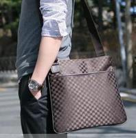 2015 man bag trend shoulder bag male check business bag casual Handbags
