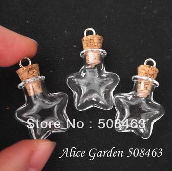 Free ship  !!! 50pcs/lot star tiny cork glass Bottle Perfume essential oil vial pendant mini glass bottle