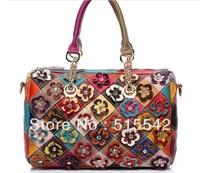 2013 New woman genuine leather colorful flower fashion women head layer cowhide handbag kelf297*qq92