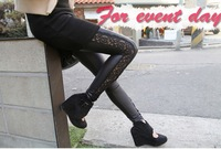 2013 Hot Selling Woman's Trousers Beautiful Side Lace Patchwork Pattern Lady's Legging Faux Leather Female Pants Free Shipping