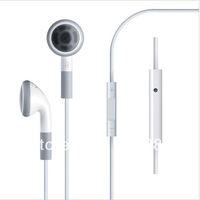 100pcs/lot Earphone Headphone Headset with Mic and volume control for Apple iPhone 4G 4S free shipping
