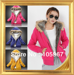 Three Color freeshipping manufacturers supply women Fur Collar hooded sweater women clothing free zise(China (Mainland))