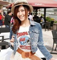 Korean spring casual women's denim short jacket dress design turn-down collar slim coat A2484