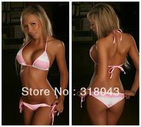 2013 Women's Sexy Pink Lace Micro Halter Bandeau Bathing Suits Bikini with Scrunch Brazilian Bottom XS S M BSX3061