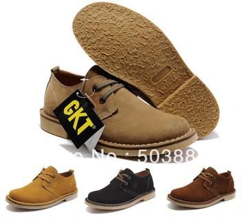 2013 Newest original men's genuine leather shoes GKT128 dress shoes casual shoes nubuck leather+rubber sole wearproof size:38-44
