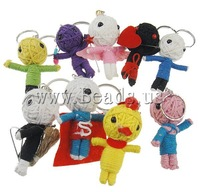 Free Shipping Voodoo Dolls Key Chain, wool woven design, with iron rings, mixed color, 40-60.5, Hole:Approx 20-24mm, 10PCs/Bag