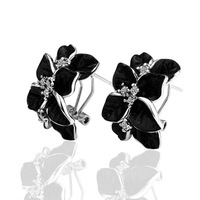18kgp platinum plated stud earrings for women 2013 health care fashion clover jewelry with rhinestone E017
