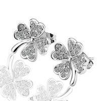 18kgp platinum plated stud earrings for women 2013 health care fashion clover jewelry with rhinestone E084