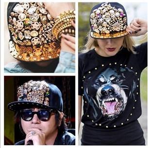 High quality  unisex baseball cap ladygaga Punk style rivet hip-hop spike hat leopard rivet flat brim hat rock/street dancing