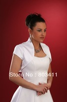 Wholesale and Retail Custom Made Elegant White Satin Bridal Bolero Jacket