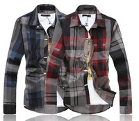 Big Size Free shipping 2013 mens casual shirts plaid stylish long sleeve shirts size M,L,XL,XXL,XXXL,XXXXL wholesale and retail