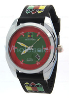 Men's SHAO PENG Quartz Date Red and Green Dial Wrist Watch