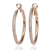 18kgp rose gold plated hoop earrings for women 2013 health care fashion jewelry with rhinestone E085