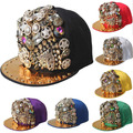 DHL FREE SHIPPING~Fashion Cool~Unisex Beaded Jewelry Studded Baseball Caps,Punk&amp;Rock Rivets Studded Golden Coin Hats,10 colors