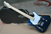 Hollow body Blue Metallic Maple fretboard China Guitar