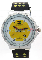 Men's SHAO PENG Quartz Date White and Yellow Dial Wrist Watch