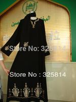 Free shipping high quanlity embroidery women's muslim prayer clothing,arabic abaya kaftan dress,turkish islamic with hijab