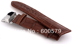 Free shipping 20mm (Buckle 18mm) High Quality Steel Single Butterfly Clasp Brown croc Genuine Leather Watch band Watch Strap(China (Mainland))