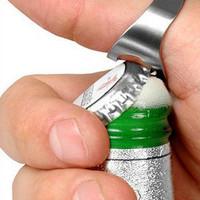Wholesale-New Stainless Steel Finger Ring Bottle Wine Opener Bar Beer Waiter #F591