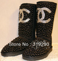 2013 Dropship Fashion Women Black Pearl Rhinestone Winter High Boots, Sexy Designer Genuine Cowhide Leather Handmade Flat Shoes