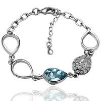 18K gold plated plating platinum bracelets for women rhinestone bracelet bangles free shipping crystal fashion jewelry SWBL001
