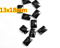 500Pcs/lPack Rectangle/Square Acrylic Sew On Stone Flatback Sewing Buttons 13x18mm rectangular octagonal  Black 500pcs/lot