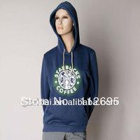 2013 New thin cheap plain blue color starbucks printed hoodie