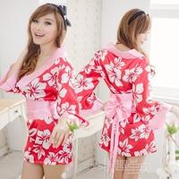 2013 New Red Flower Kimono Silk Sexy Lingerie Yukata Robe Sleepwear Costume Uniform