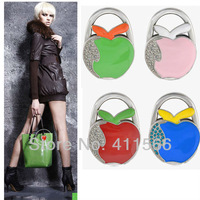 Free shipping 1 PC fashion originality apple design Handbag Folding Bag Purse Hook Hanger Holder for gift sx055  4 colors