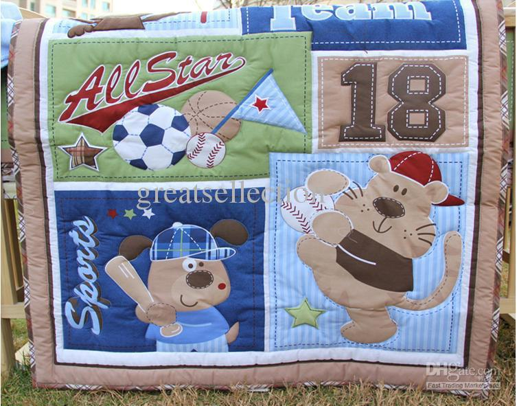 New Cotton Baby Cot Applique Comforter Set Animals Sport Quilt Blanket Sheet Bumper Bedskirt Bag(China (Mainland))