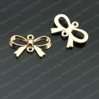 (26848)Fashion Jewelry Findings,Accessories,charm,pendant,Alloy Rose gold 22*14MM Bow-knot 30PCS