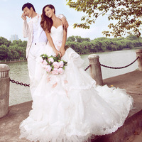 2012 royal princess wedding dress luxury lace train bride wedding dress formal dress 694
