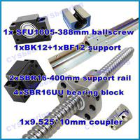 ball screw RM1605 388mm linear rail SBR16 400mm  (2 shaft support rails+ 4 SBR16UU blocks) + BK/BF12 + coupling