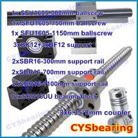 3 ball screw RM1605 300 750 1150mm linear rail SBR16 (6 shaft support rails+ 12 SBR16UU blocks) + 3 BK/BF12 + 3 coupling