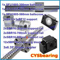 3 ball screw RM1605 300 470 560mm linear rail SBR16 (6 shaft support rails+ 12 SBR16UU blocks) + 3 BK/BF12 + 3 coupling