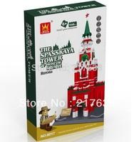 Free shipping. DIY Educational toys,No. 8017WANGE  the SPASSKAYA TOWER OF MOSCOW KREMLIN 1048pcs assembles  block toys