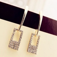 New Fashion European Popular Elegant Gold Plated Square Metal Artificial Diamond Pendant Stud Earring for Women Ladies Cheap