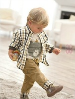 2013 new hot explosion models baby three-piece Boy Leisure suits , plaid Shirt + shirt + trousers Free Shipping